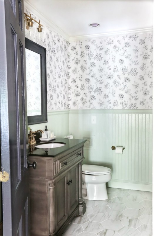 Aqua Meets Urban Powder Room Makeover Blesser House