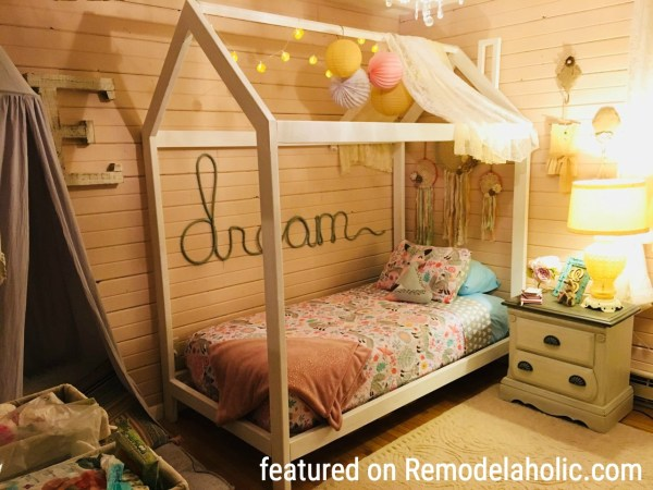 House Bed Frame With Lots Of Cute Elements Featured On Remodelaholic.com