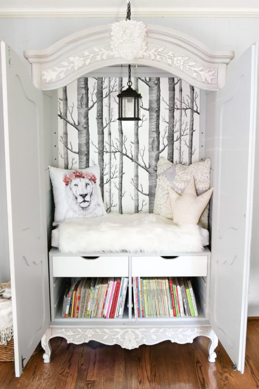 Armoire Turned Narnia Reading Nook, Bless'er House