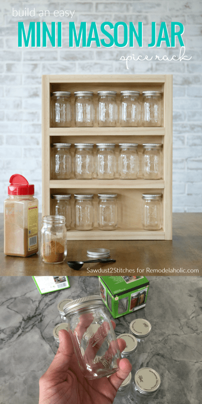 Build An Easy Mini Mason Jar Spice Rack Shelf For Storage And Organizing @Remodelaholic