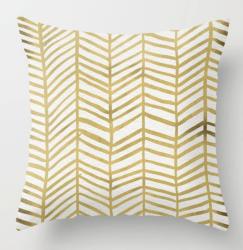 Gold Herringbone Pillow