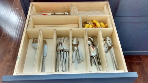 Removeable Utensil Drawer Organizer with plywood featured on Remodelaholic.com