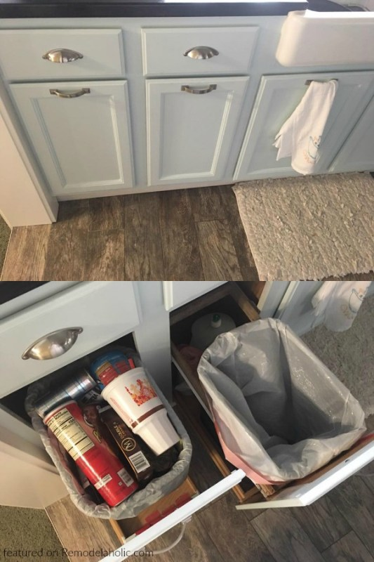 Retrofitted Slim Pull Out Trash Can And Recycling Bin Cupboards In Existing Cabinets, Reader Jeannette Featured On @Remodelaholic