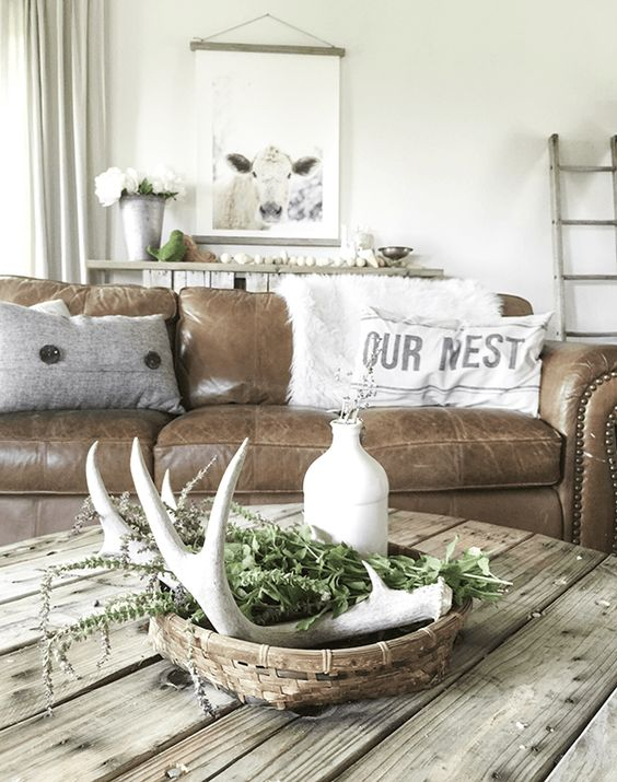 Brown Leather Couch Living Room Farmhouse Coffee Tables
