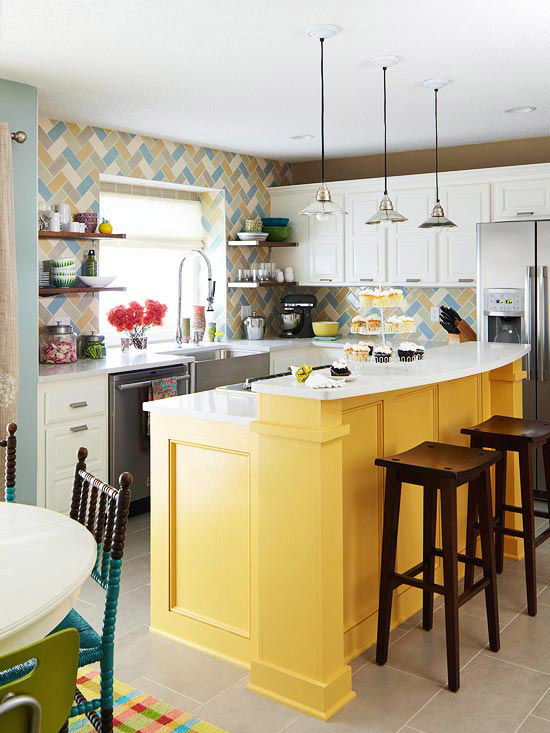 Remodelaholic Color Files Marigold BHG Yellow Kitchen Island