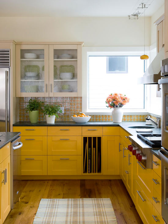 Remodelaholic Color Files Marigold Kitchen Cabinets BHG