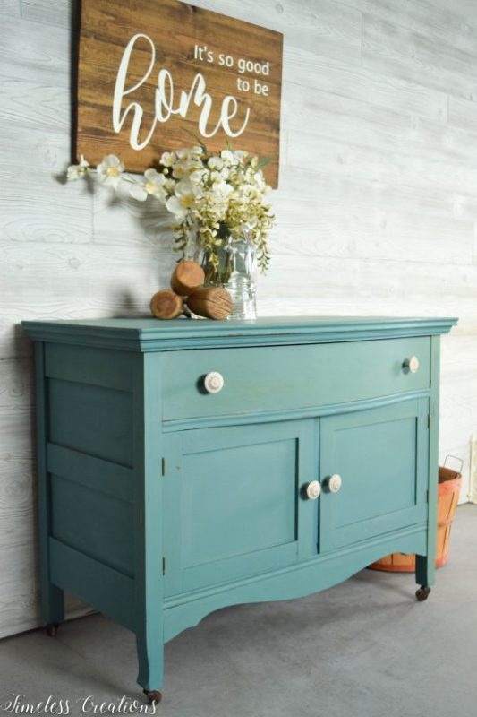Antique Washstand Table Refinished In Blue Green Aqua Paint, Timeless Creations