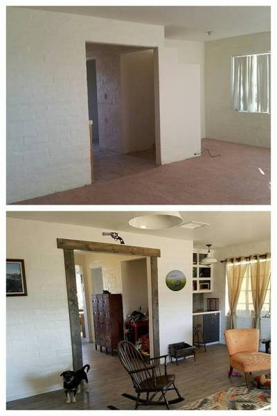 Bridget, Desert Homestead Renovation Living Area Before And After