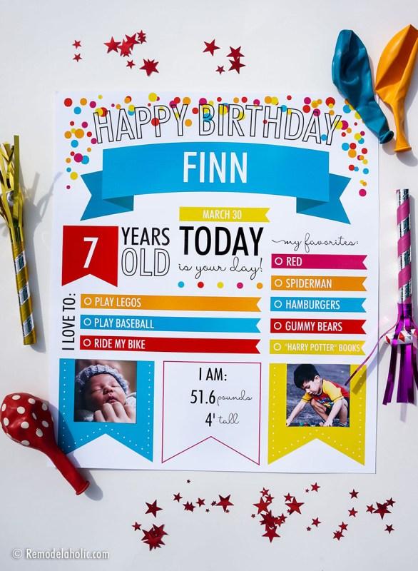 Custom Printable Infographic Birthday Poster For Kids Photo Milestones #remodelaholic