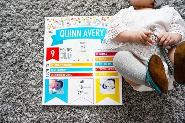Custom Printable Monthly Baby Milestone Infographic Poster For Birthdays #remodelaholic