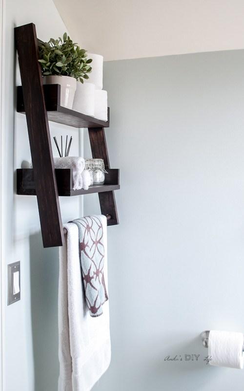 Diy Floating Ladder Shelf For Small Bathroom Storage, Anika's DIY Life