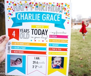 Fillable Printable Birthday Poster Milestone Photo Op For Children And Adults #remodelaholic (1)