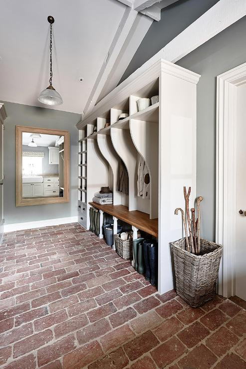 Long Rustic Mudroom With Vaulted Ceiling And Brick Floor, Sims Hilditch