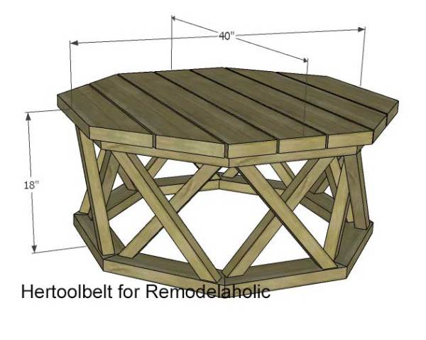 Octagon DIY Outdoor Coffee Table | Outdoor Furniture Plans