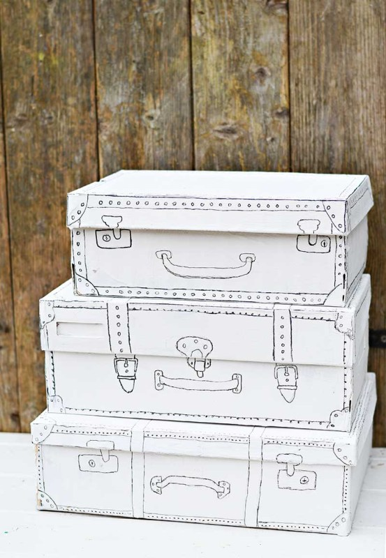 Upcycled Shoe Box To Sketched Vintage Suitcase, Pillar Box Blue