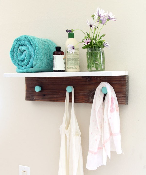 DIY Wood Wall Hanging Shelf ApieceofRainbowblog (17)