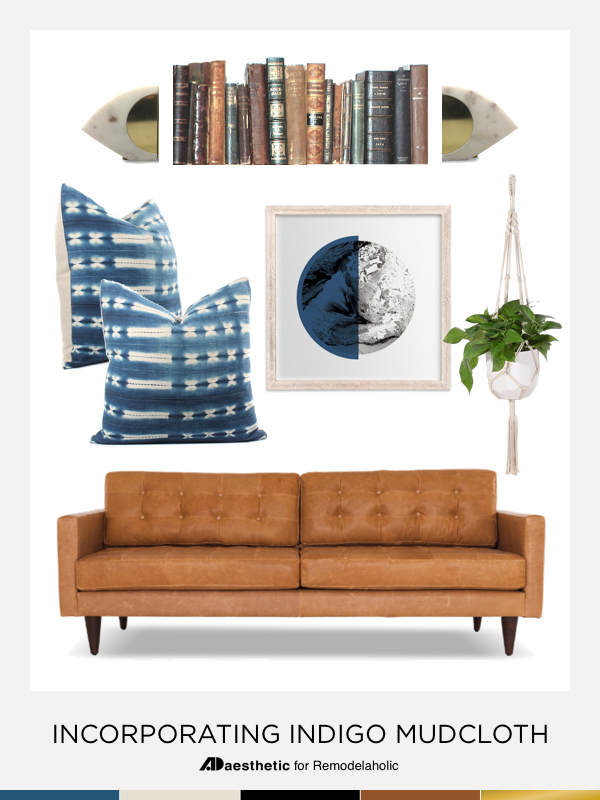 Remodelaholic Incorporating Indigo Mudcloth In Living Room Decor