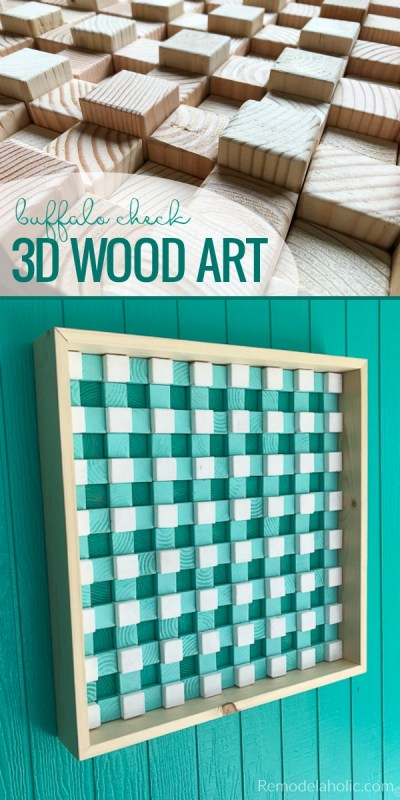 DIY Textured 3D Wood Wall Art Tutorial, with a Buffalo Check Pattern | Made from 2x4s #remodelaholic #woodartchallenge