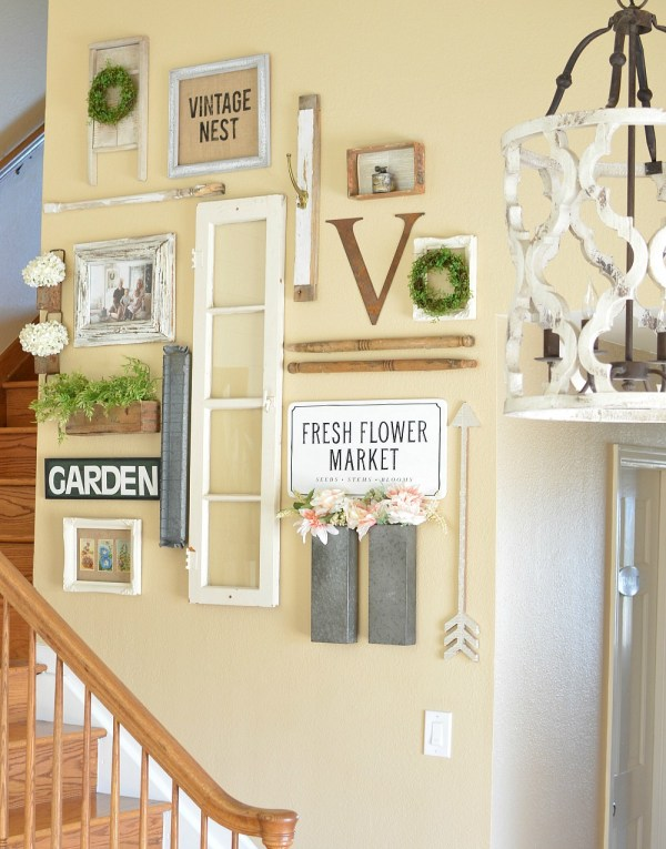 Farmhouse Gallery Wall Along The Stairs, Little Vintage Nest