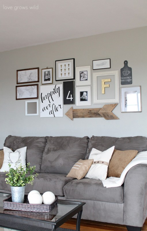 Living Room Gallery Wall Over The Sofa, Love Grows Wild