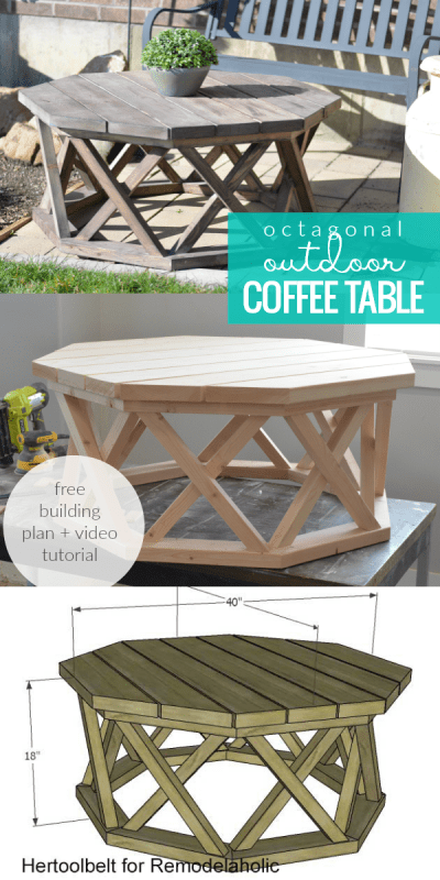 Rustic Wood Octagonal Indoor Or Outdoor Coffee Table With Lattice Legs #remodelaholic