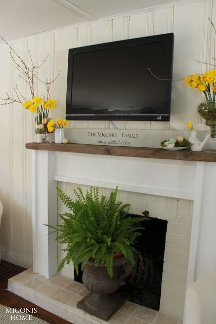 Remodelaholic real life rooms decorating ideas for a tv - Decor above fireplace mantel ...