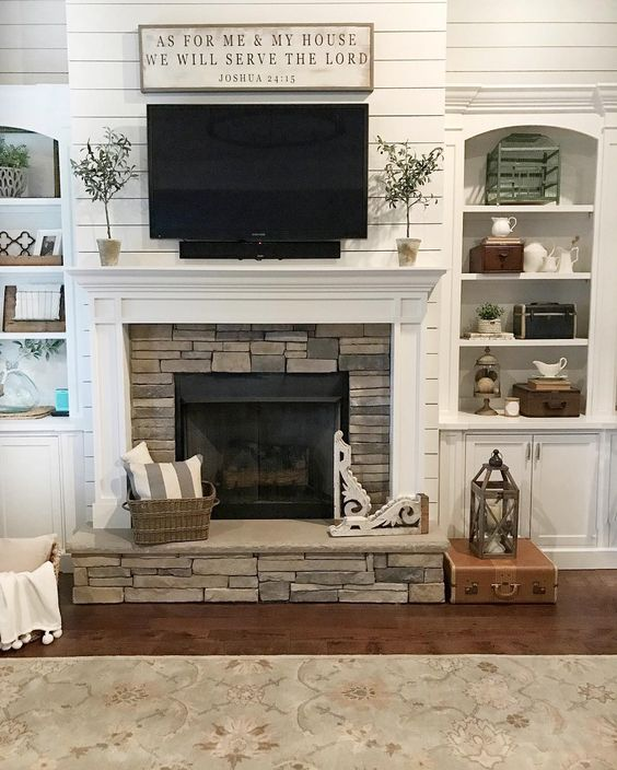Ideas for Decorating Around a TV Over the Fireplace Mantel, shiplap white fireplace and mantel via Our Vintage Nest