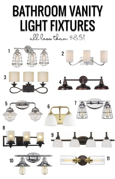 Postbox Designs: My $950 Budget Bathroom, LIght Fixture Roundup by Remodelaholic
