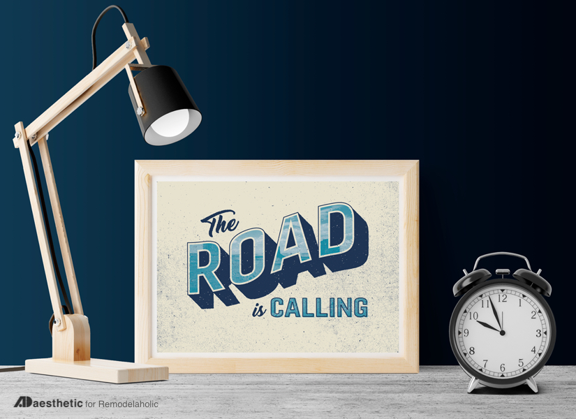 Free Travel Printable: The Road Is Calling | This art print is perfect for a gallery wall of road trip or family vacation photos! Get the printable in 3 sizes at Remodelaholic.com #remodelaholic #freeprintableartcollection