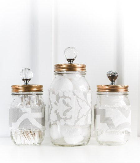 Mason Jar Bathroom Storage Fabric Cozy Gold Painted Tops Crystal Knobs 5