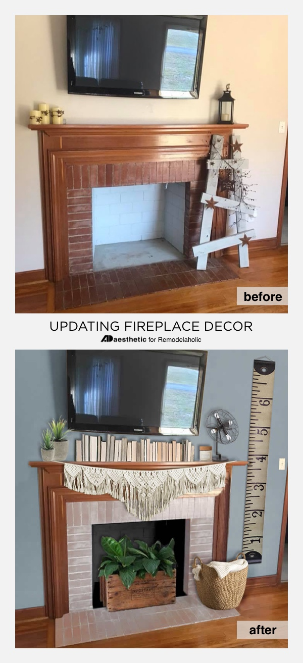 Before and After: Decorating Around a TV Over a Fireplace | Tips for decorating a mantel and fireplace with a TV, including tips on scale and working with existing wood tones #remodelaholic #realliferooms