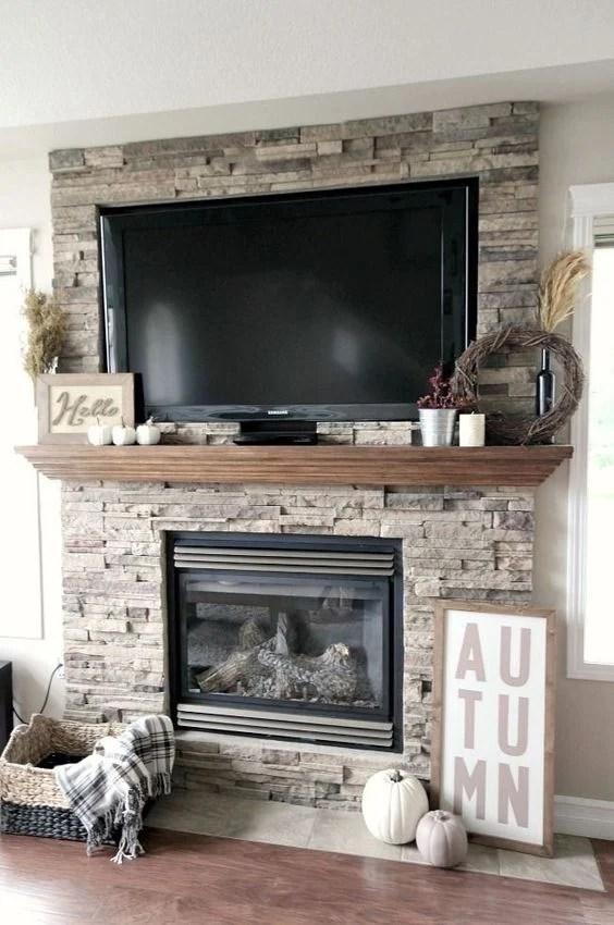 Mantel decor with tv