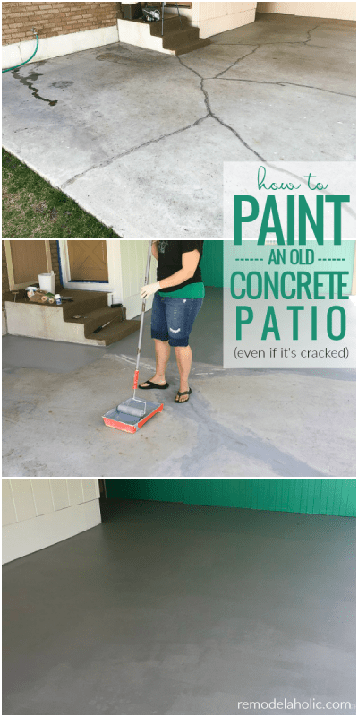 How To Paint A Concrete Patio Even If It's Old And Cracked #remodelaholic