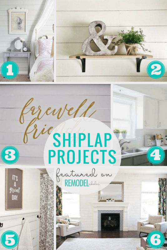 6 Easy Shiplap DIY Projects Featured On Remodelaholic - create your own Fixer Upper style with these easy DIY shiplap tutorials #remodelaholic #shiplap