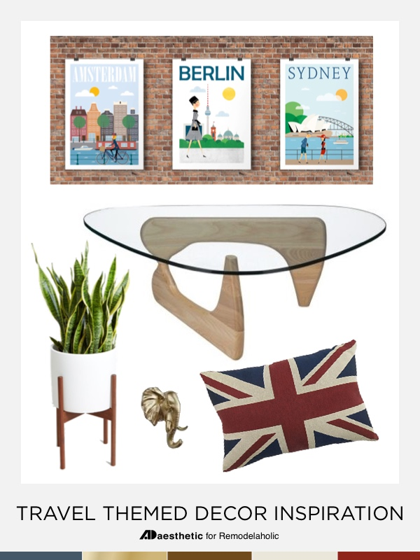 This travel themed decor mood board gives you classic decorating picks plus tips for making travel decor match your interests and destinations. #remodelaholic