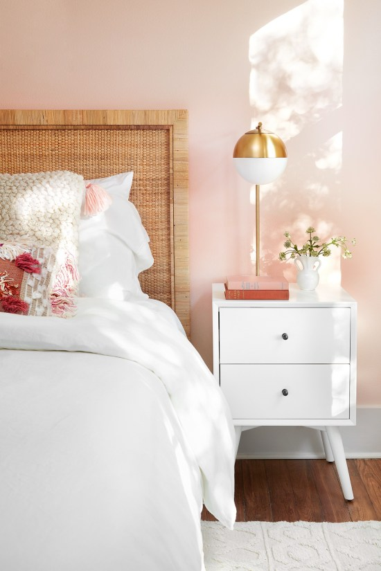 Millennial Pink: How to Decorate and Accent Your Home Decor | Fixer Upper Americana House Bedroom featured on #Remodelaholic #colorfiles