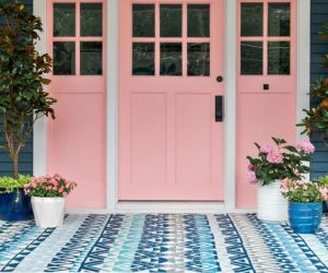 Remodelaholic Color Files Millennial Pink HGTV 2017 Urban Oasis House Front Porch