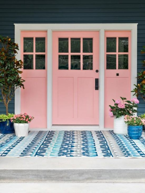Millennial Pink: How to Decorate and Accent Your Home Decor | Millennial Pink Door HGTV 2017 Urban Oasis House Front Porch featured on #Remodelaholic #colorfiles