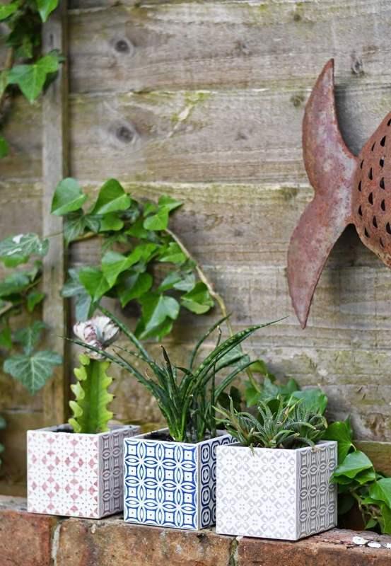 Easy Tiled Moroccan Planters, Pillar Box Blue
