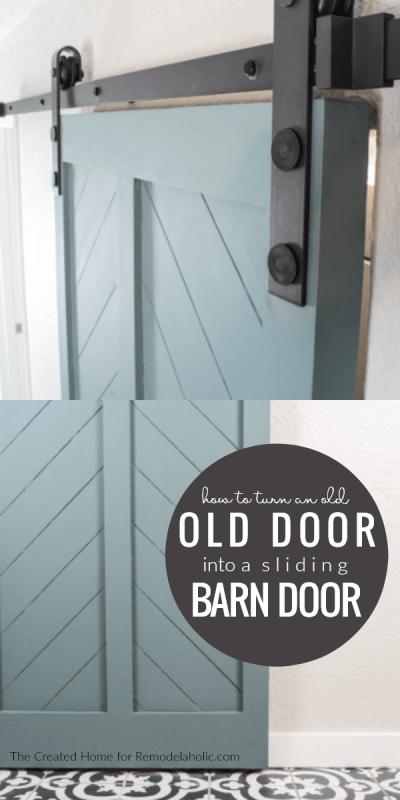 How To Turn An Old Interior Door Into A DIY Barn Door Tutorial #remodelaholic