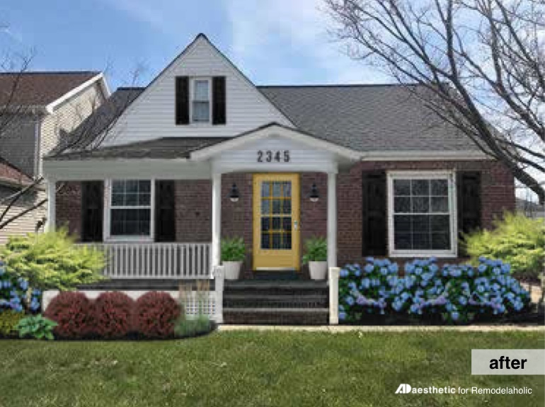 After | Plain to Pretty Curb Appeal Inspiration | Adding a Porch and Shutters #remodelaholic #curbappeal #virtualmakeover