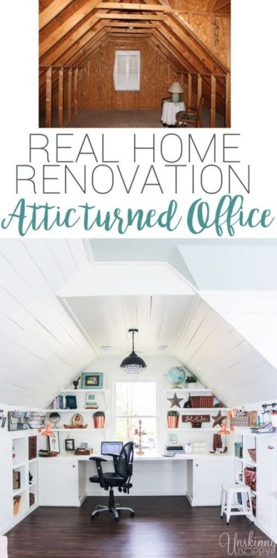 Attic Turned Office Renovation 508x1024