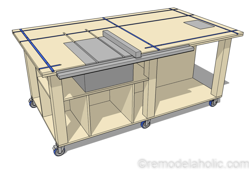 Free Printable Building Plans | DIY Router Table and Table Saw Workbench Building Plan #remodelaholic