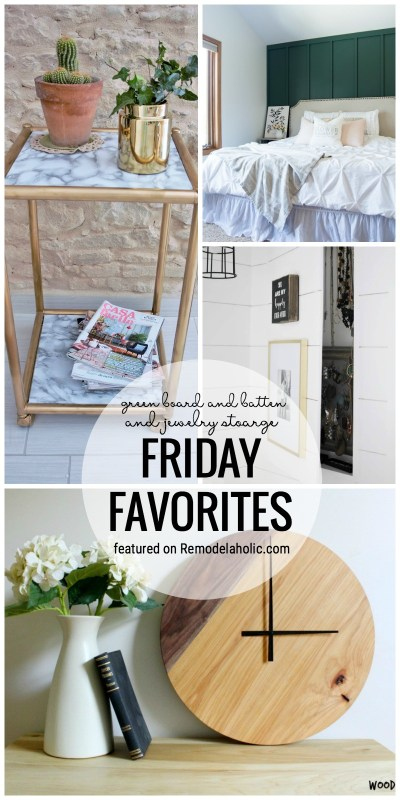 It's Time For Some Pretty Inspiration. Green Board And Batten And Hidden Jewelry Storage Featured On Friday Favorites At Remodelaholic.com