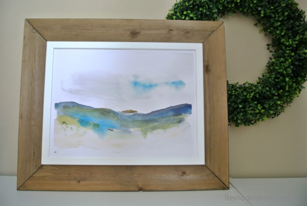 Diy Farmhouse Wood Frame IKEA FISKBO Hack With Free Printable Seasonal Watercolor Abstract For Summer #remodelaholic