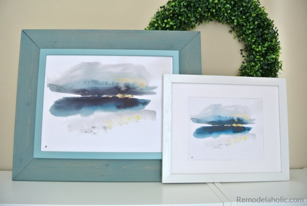 Printable Abstract Watercolor Landscape Set And DIY IKEA Hack Frame #remodelaholic