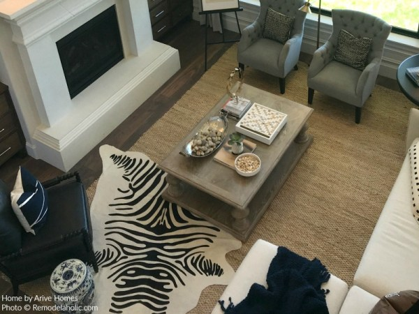 Jute Area Rug Gives Definition In Modern Farmhouse Great Room, Arive Homes And Brandalyn Dennis Design, 2018 Utah Valley Parade Of Homes, Featured On Remodelaholic