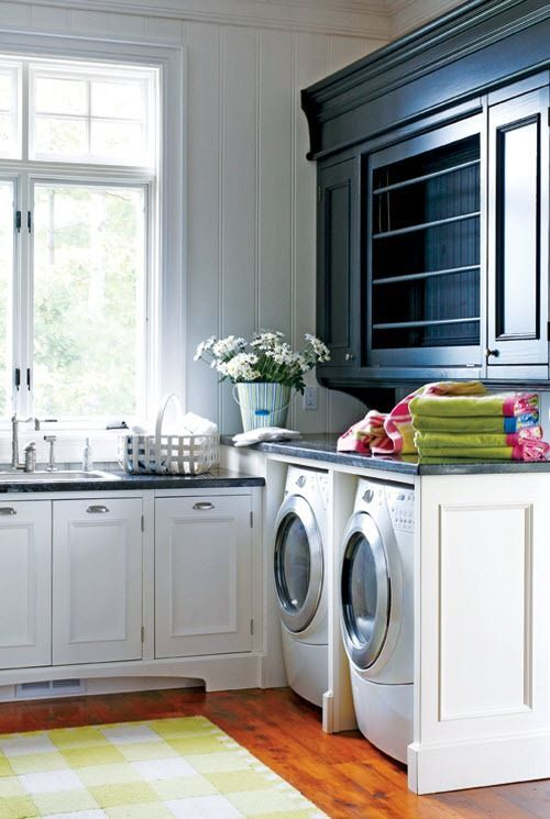 Laundry With Built In Wrapping Station Above
