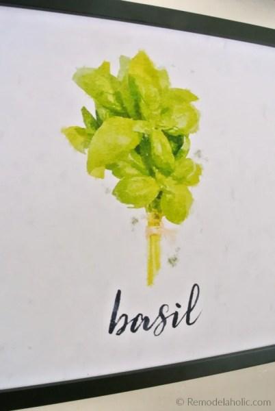 Free Basil Kitchen Herb Printable Set Of 4 Watercolor Herb Art Prints Digital Download #remodelaholic