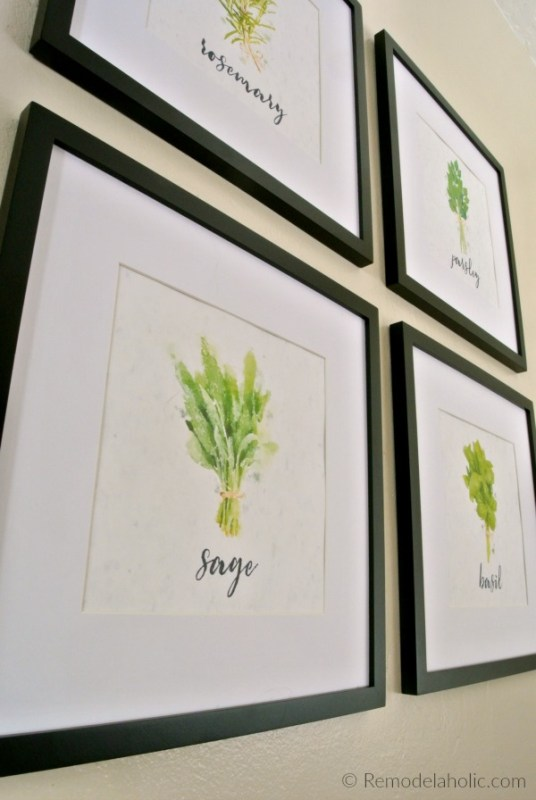 Printable Set Of Four Watercolor Kitchen Herbs For Easy Wall Decor #remodelaholic